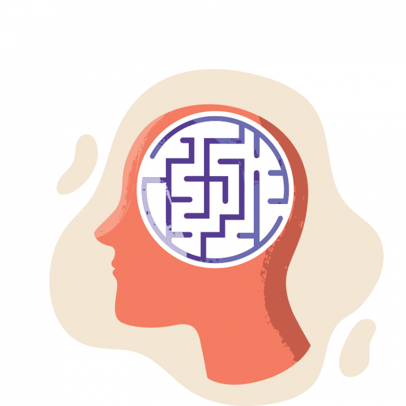 head with maze inside illustration